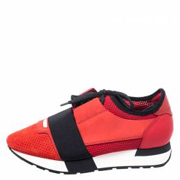 Balenciaga Red/Black Leather, Nubuck, Suede And Fabric Race Runner Sneakers Size 37 249286