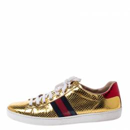 Gucci Metallic Python Embossed Gold Ace Lace Up Sneakers Size 40.5 249134
