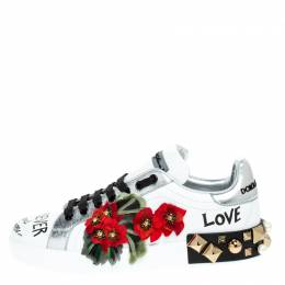 Dolce and Gabbana White Leather Portofino Flower Embellished Low Top Sneakers Size 39 249437