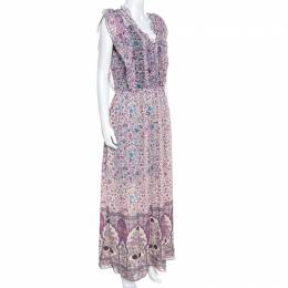 Zadig & Voltaire Purple Georgette Drawstring Waist Rimana Maxi Dress S 247727
