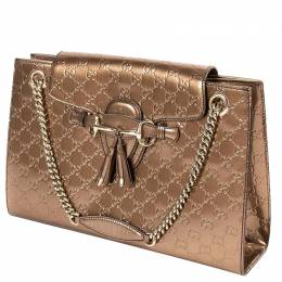 Gucci Bronze Gold Patent Leather Emily Large Chain Shoulder Bag 297305