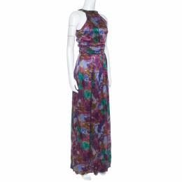 Etro Multicolor Printed Silk Ruched Waist Maxi Dress M 246373