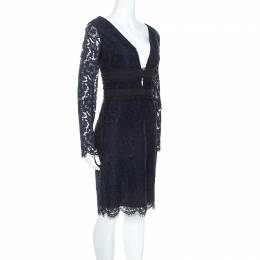 Diane Von Furstenberg Navy Blue Lace Viera Cocktail Dress M 249411