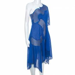 Stella Mccartney	 Blue Embroidered One Shoulder Noah Dress S 249416