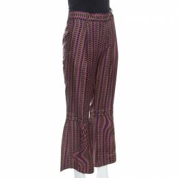 Prada Purple and Brown Printed Silk Flared Trousers M 248859