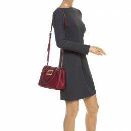 Burberry Red Grainy Leather Small Buckle Tote 246132