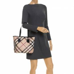 Burberry Beige/Black Nova Check Coated Canvas and Patent Leather Tote 247687