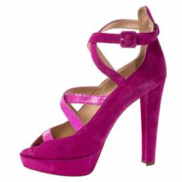 Charlotte Olympia Pink Caged Suede and Snakeskin Trim Gladys Platform Sandals Size 41 249458