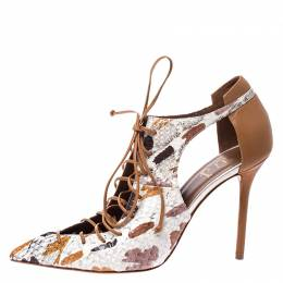 Malone Souliers Brown/Beige Python and Leather Montana Lace Up Pumps Size 40 249450