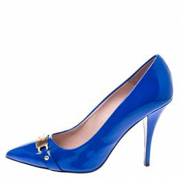 Boutique Moschino Blue Patent Leather Logo Plague Pointed Toe Pumps Size 41 249038