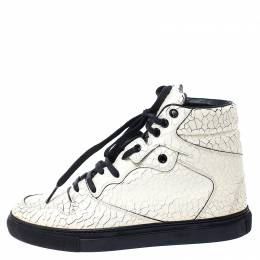 Balenciaga Off White Cracked Leather Lace Up High-Top Sneakers Size 37 249015
