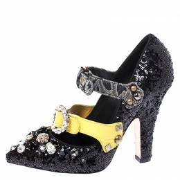 Dolce and Gabbana Black Sequins Embellished Buckle Strap Crystals Mary Jane Pumps Size 38.5 249622