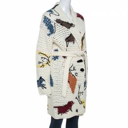 Christian Dior Off White Abstract Knit Chunky Belted Cardigan S 247723