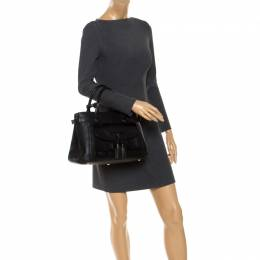 Burberry Black Leather Brogues Banner Fringe Tote 246761
