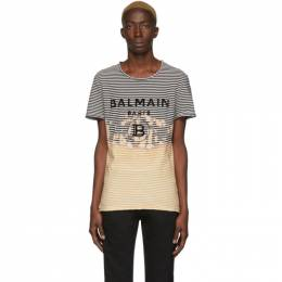 Balmain Black and Yellow Striped Tie-Dye T-Shirt TH11601I206