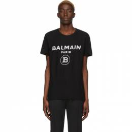 Balmain Black Velvet Logo T-Shirt TH11601I203