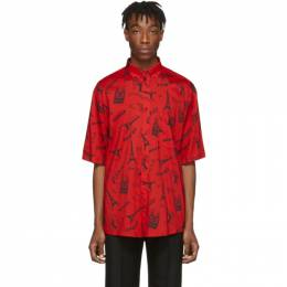 Balenciaga Red Crepe Tourist Shirt 201342M19201208GB