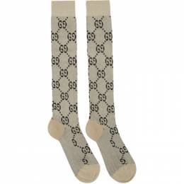 Gucci Off-White Lame GG Socks 476525 3G199