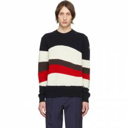 Moncler Tricolor Wool and Mohair Red Wave Sweater 201111M20101105GB