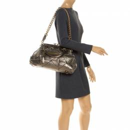 Marc Jacobs Metallic Quilted Leather Stam Shoulder Bag 248124