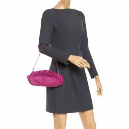 Furla Magenta Ostrich Embossed Leather Zip Clutch Bag 247944