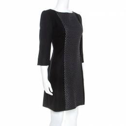 Victoria Beckham Black Knit Paneled Sheath Dress M 249733