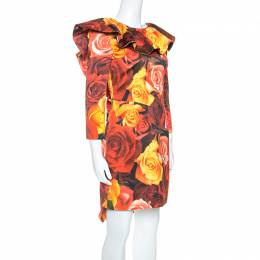 Moschino Red Floral Printed Taffeta Ruffle Detail Short Dress M 249410