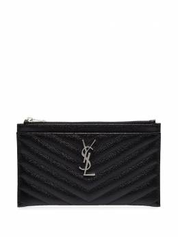 Saint Laurent black logo quilted leather wallet 504922BOW02