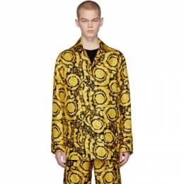Black and Yellow Silk Barocco Pajama Shirt Versace Underwear AUU05060 A232999