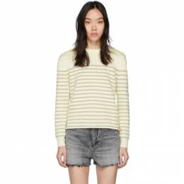 Saint Laurent White and Gold Lame Sailor Sweater 605488 YAFS2
