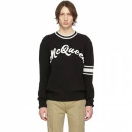 Alexander McQueen	 Black and Off-White Logo Varsity Sweater 603257Q1GBF