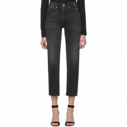 Re/done Black High Rise Stove Pipe Jeans 198-3WSTV27
