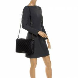 Black Quilted Lambskin Leather Large Boy Flap Bag Chanel 248931