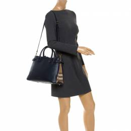 Burberry Navy Blue Leather and House Check Fabric Medium Banner Tote 248328