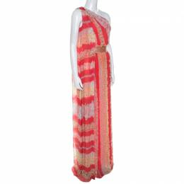 Missoni Coral Pink Floral Print Silk One Shoulder Maxi Dress S 250141