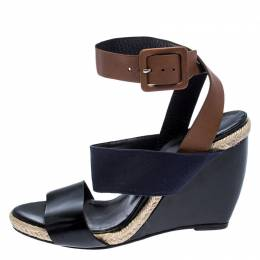 Pierre Hardy Tri Color Leather and Canvas Ankle Strap Wedge Sandals Size 39 249371