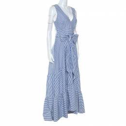P.A.R.O.S.H Blue Striped Cotton Bow Sleeveless Ruffle Hem Dress L P.A.R.O.S.H. 250841