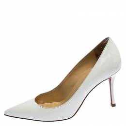 Christian Louboutin White Patent Leather So Kate Pointed Toe Pumps Size 35 248721