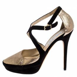 Jimmy Choo Black Suede And Gold Glitter Fabric Round Toe Ankle Strap Platform Pumps Size 40 249624