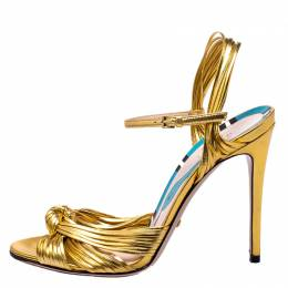 Gucci Metallic Gold Leather Strappy Allie Knot Sandals Size 37.5
