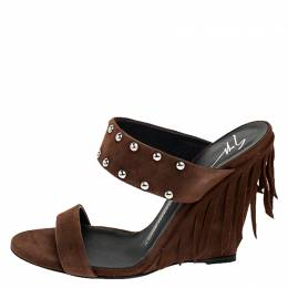 Giuseppe Zanotti Brown Studded Suede Taline Fringed Wedge Sandals Size 39 250322