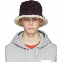 Gucci Navy and Red Wool GG Bucket Hat 604194 4HI91