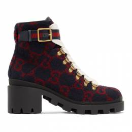 Gucci Navy Wool GG Ankle Boots 578585 G38H0