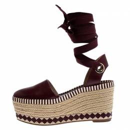 Tory Burch Burgundy Leather Dandy Ankle Wrap Espadrille Wedge Sandals Size 37.5