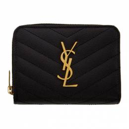 Saint Laurent	 Black Small Compact Monogramme Wallet 403723 BOW01