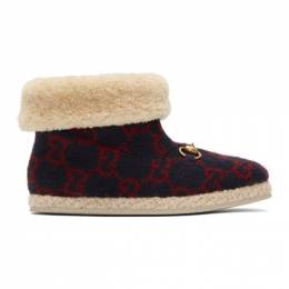 Gucci Navy Wool Fria Boots 593517 G38M0