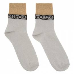 Gucci Silver and Gold Interlocking G Socks 609345 3GF05