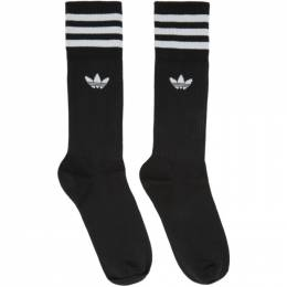 Adidas Originals Three-Pack Black Solid Crew Socks S21490