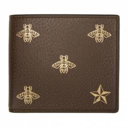 Gucci Brown Bee Star Wallet 495053 DJ2KT