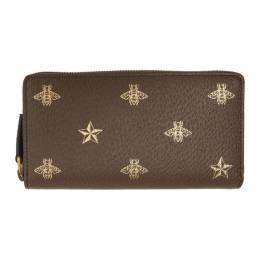 Gucci Brown Bee Star Zip Around Wallet 495062 DJ2KT